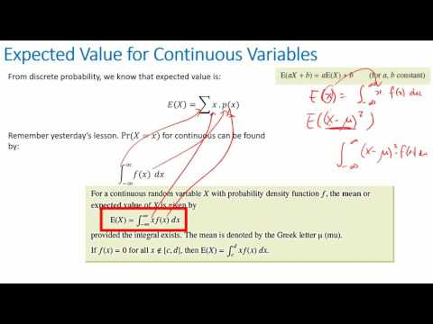 Continuous Random Variable - Expected value and Variance