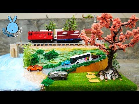 Hot Glue Waterfall realistic Train station Tutorial | Miniature Diorama from Cardboard & Hot Glue
