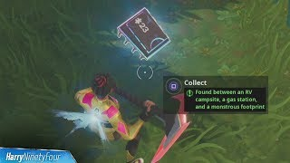 Fortbyte #23: Found Between an RV Campsite, Gas Station, Monstrous Footprint Location - Fortnite