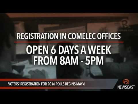 Voters' registration for 2016 polls begins May 6