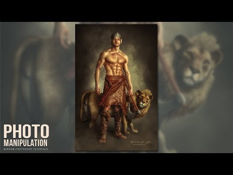 Create this Warrior and Lion Photo Manipulation With Texture Background