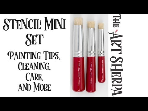 The Art Sherpa®  Stencil Brushes Care and  Demo Acrylic  Techniques