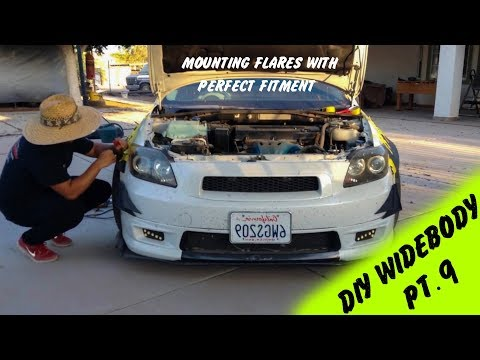 DIY Widebody Fender Flares made out of Rocket Bunny Kit Pt. 9 | Hard Mounting Flares to Car