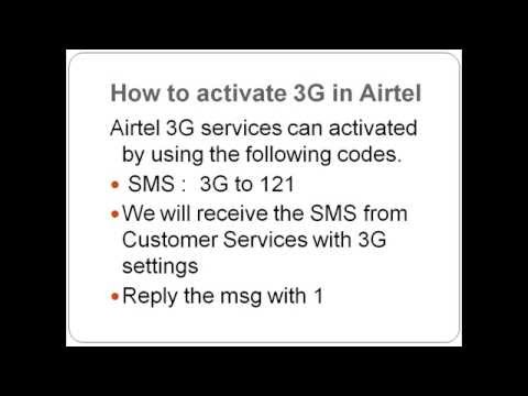 How to activate 3G for Airtel