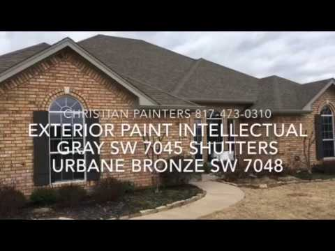 Exterior Paint Intellectual Gray SW 7045 Shutters Urbane Bronze SW 7048
