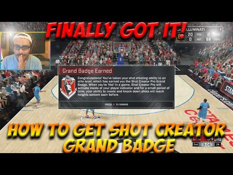 NBA 2K17 - HOW TO GET SHOT CREATOR PRO GRAND BADGE EASY - THANKS FOR 200 SUBS!