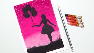 Girl With Balloons Drawing For Beginners With Oil Pastels Step By Step