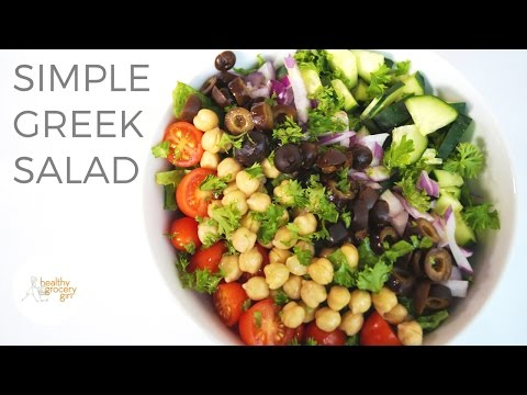 Quick & Easy Greek Salad | Healthy Lunch or Dinner Idea | Healthy Grocery Girl