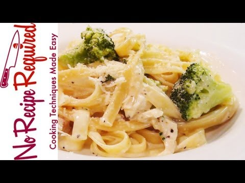 Fettucini (Fettuccine) Alfredo with Chicken & Broccoli - NoRecipeRequired.com