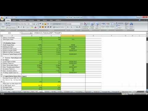 Ratio Analysis using Microsoft Excel