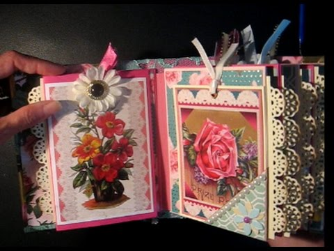 Scrapbook Pocket Mini Album FLOWERS AND LACE (W/ Links to Free Tutorial)