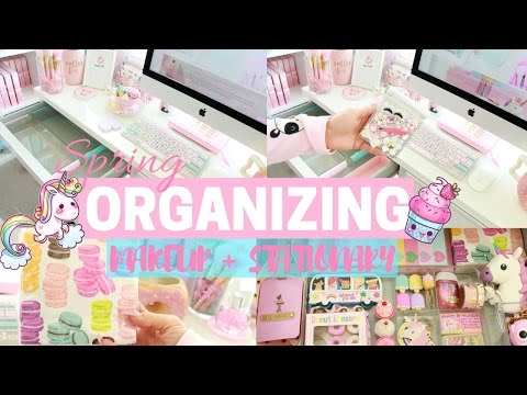CLEANING MY MAKEUP DRAWER & OFFICE SPACE!🌈💕-SLMissGlam🌈💕
