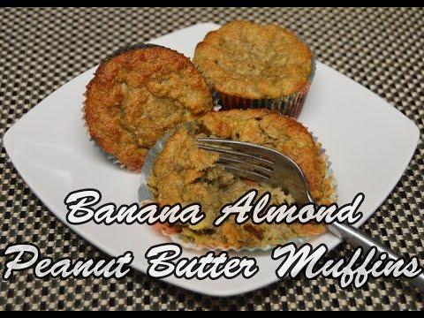 Banana Almond Peanut Butter Muffins