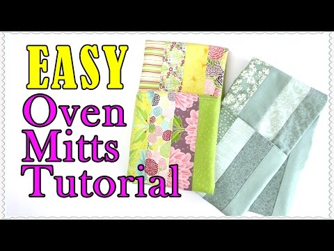 EASY Oven Mitt Tutorial - Oven Gloves made from  8 Jelly Roll Strips