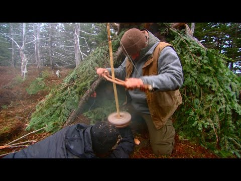 Improvised Pump Drill To Make Fire | DUAL SURVIVAL5