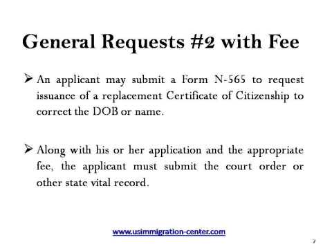 Replacement of Certificate of Citizenship or Naturalization