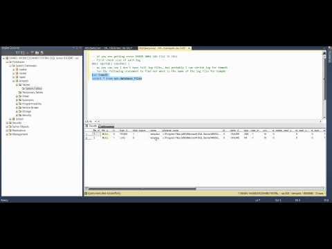 MS SQL 2012 - How to Fix Error ERROR 9002 LOG FILE IS FULL.avi