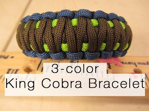 How To Make A King Cobra Paracord Bracelet (3-color!)