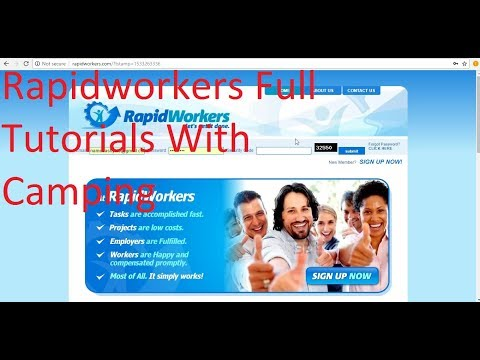 Rapidworkers Full Earning Tutorials and Camping  Setting !!!