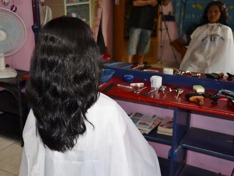 Extreme short hair cut girl