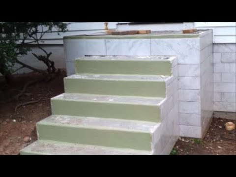 Waterproof Outdoor Concrete Stairs Before Tiling Using Hydro Band