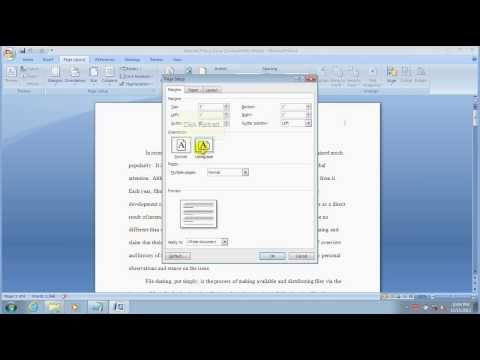 How To Set Page Setup In MS Word 2007