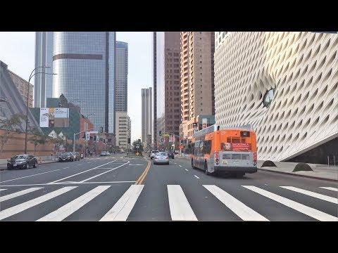 Driving Downtown - LA's $3 Billion Grand Avenue 4K - Los Angeles USA