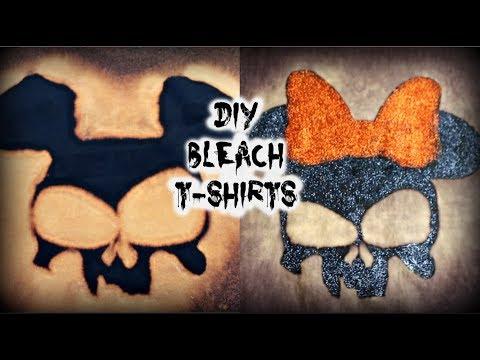 DIY Mickey & Minnie Mouse Bleach T-Shirts