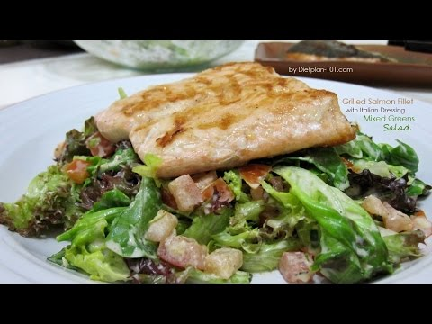 Grilled Salmon Fillet with Italian Dressing Mixed Greens Salad | Dietplan-101.com