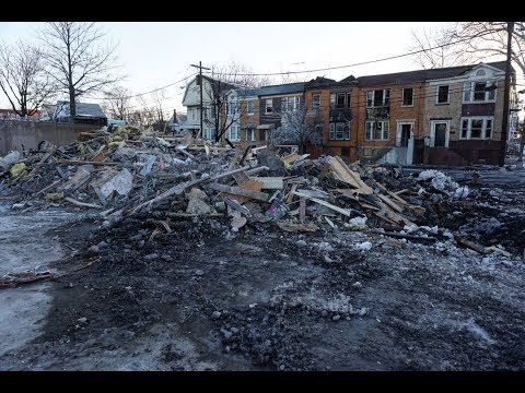 Aftermath of fire at abandoned house in Newark NJ
