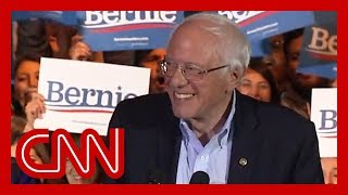 Watch Sanders' reaction to projected win in Nevada