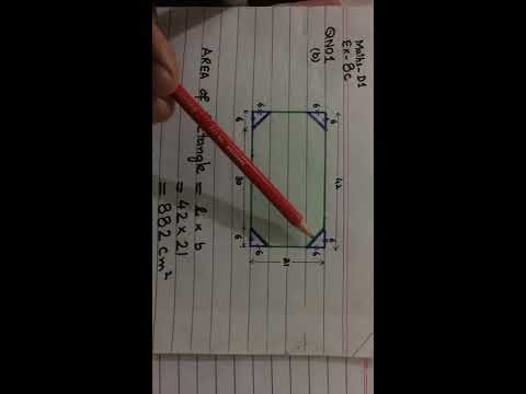 Calculate shaded Area, rectangle minus 4 Triangles. Mudassar Ahmad