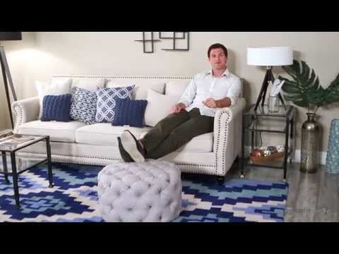 Belham Living Allover Tufted Round Ottoman - Grey - Product Review Video