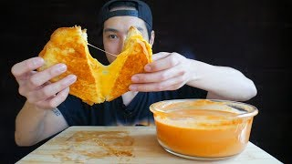 Grilled Cheese w/ 10 Slices of Cheese & Tomato Soup - MUKBANG