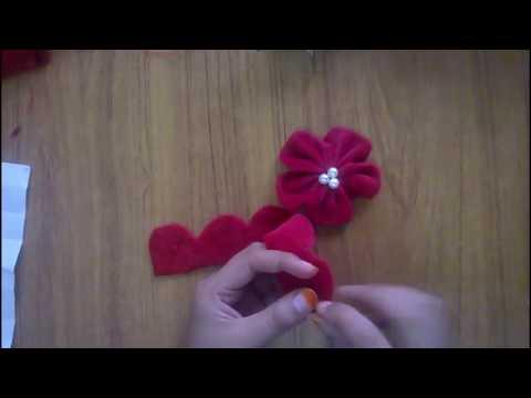 DIY velvet rose-satin ribbon flower tutorial-how to
