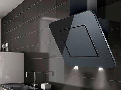 Nexon Angled Black Glass Kitchen Extractor - Luxair Cooker Hoods