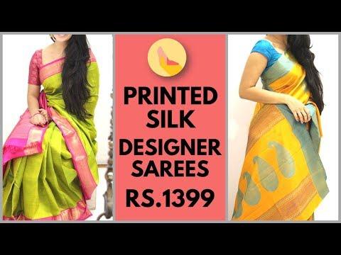 Bengaluri Silk Printed Sarees | Printed Silk Saree with Blouse | Printed Silk designer Sarees
