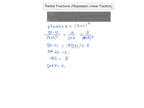 Partial Fractions (Repeated Linear Factors)
