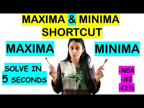 MAXIMA AND MINIMA SHORTCUT//TRICK FOR NDA/JEE/CETs/COMEDK/SOLUTION IN 5 SECONDS