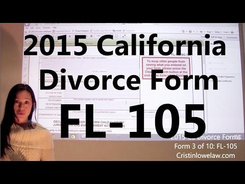 Filing California Divorce Forms: Form 3 of 10 the FL-105