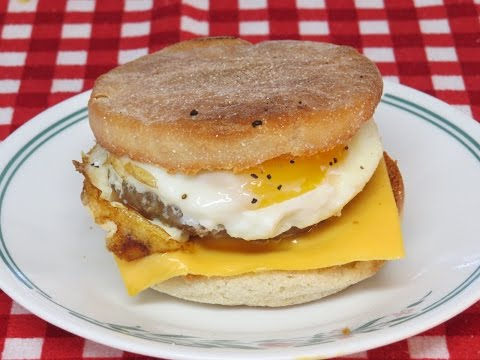 Sausage and Egg Breakfast Sandwich Cooked in the Toaster Oven