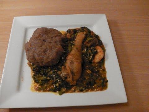 Nigerian Okra Ogbono Soup with Amala- Nigerian