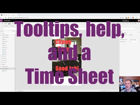 PowerApps Tooltip for inline help, popup help, and a time sheet app