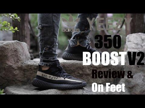 32db70096c0 ... adidas Yeezy 350 Boost v2 Black Green Review On Feet ...