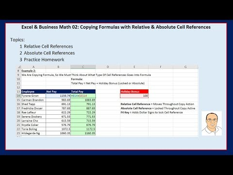 Excel & Business Math 02: Copying Formulas with Relative & Absolute Cell References