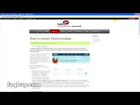 How to Restore Firefox Toolbar