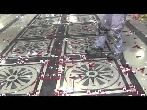 Distinctive tile design installation cut out on existing floor and T-Lock™ lippage free