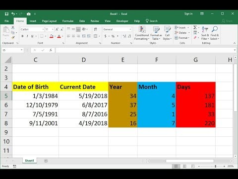 MS Excel: How to Calculate Age in Year, Month & Days
