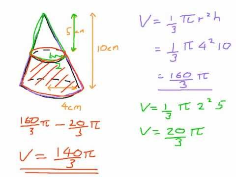 How to find the volume of a Frustum - from a cone