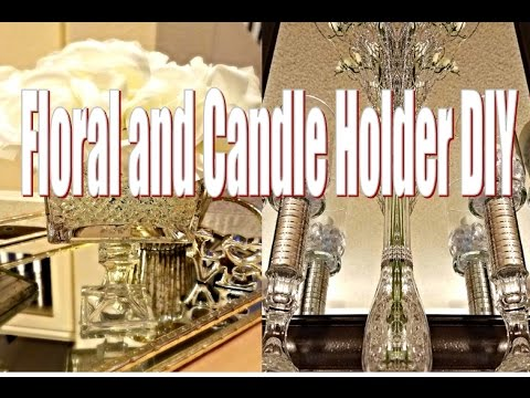 Dollar Tree  DIY Bouquet and Hurricane Candle Holder